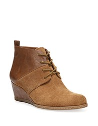 Franco Sarto Alibi Suede Lace Up Wedge Booties Cognac
