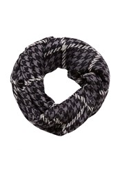 Hallhuber Houndstooth And Check Scarf Grey