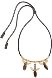 Marni Leather Gold Tone And Horn Necklace