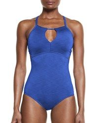 Nike Heathered Crossback One Piece Blue