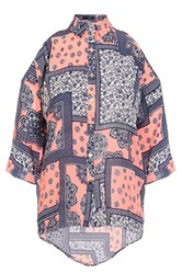 Quiz Coral Tile Print Cold Shoulder Top Orange