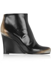 Jil Sander Patent Leather Wedge Boots Black