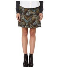 Marc By Marc Jacobs Acanthus Army Cotton A Line Skirt Elm Brown Multi