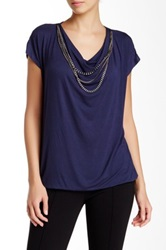 Laundry By Shelli Segal Draped Chain Accent Blouse Blue