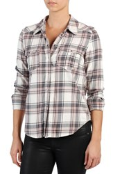 Paige Women's 'Mya' Plaid Shirt White Grey Adobe Rose