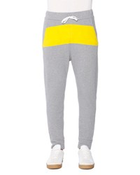 Tomas Maier Jogger Sweatpants With Yellow Stripe Dark Gray