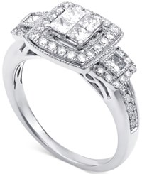 Macy's Diamond Quad Engagement Ring 1 Ct. T.W. In 14K White Gold