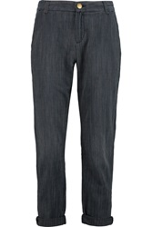 Current Elliott The Captain Pinstriped Mid Rise Straight Leg Jeans