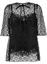 Dolce And Gabbana Embroidered Lace Blouse Black