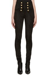 Balmain Black High Rise Suede Pants