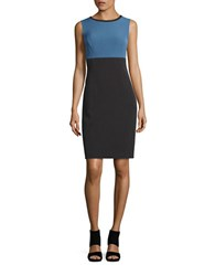 Nipon Boutique Colorblocked Sheath Dress Grey Frost