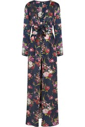 Rosamosario Deep Water Floral Print Silk Satin Robe Blue