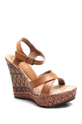 Two Lips Too Paint Platform Wedge Sandal Brown