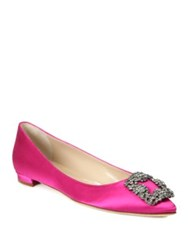 Manolo Blahnik Hangisi Satin Flats Red Navy Pink White Grey Black Coral Blue