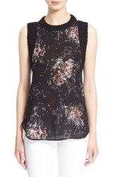 Women's Elizabeth And James 'Circle Vivi' Knit Trim Sleeveless Silk Top Black Multi