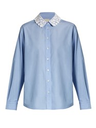 Trademark Lace Collar Cotton Poplin Shirt Blue
