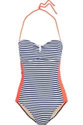 Tart Collections Aloni Striped Halterneck Swimsuit Navy
