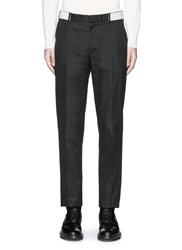 Alexander Mcqueen Metallic Waistband Cotton Twill Pants Black