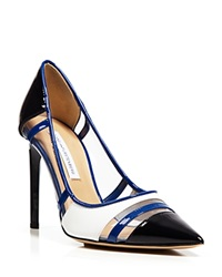 Diane Von Furstenberg Pointed Toe Pump Becca High Heel Navy Patent Blue
