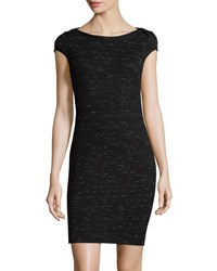 Three Dots Cap Sleeve Ponte Sheath Dress Black
