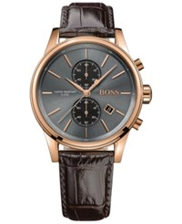 Hugo Boss Men's Chronograph Jet Brown Leather Strap Watch 41Mm 1513281