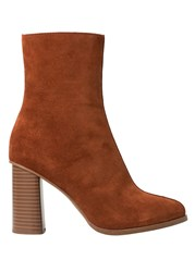 Mango Heel Suede Ankle Boot Brown