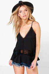 Boohoo Ladder And Crochet Detail Cami Black