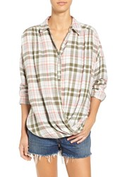 Women's Bp. Twist Front Plaid Shirt Pink Desert Rose Plaid