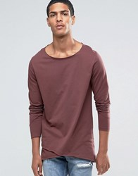 Asos Longline Long Sleeve T Shirt With Cross Over Hem Rust Brown