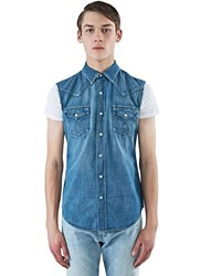 Saint Laurent Sleeveless Denim Vest Blue