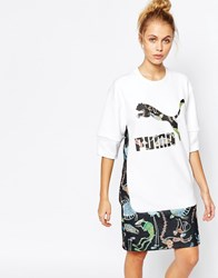 Puma X Swash Longline T Shirt Dress With Front Logo And Print White
