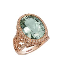 Effy 14K Rose Gold Green Amethyst And Diamond Ring