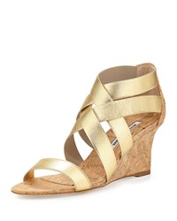 Glassa Strappy Cork Wedge Sandal Gold Manolo Blahnik