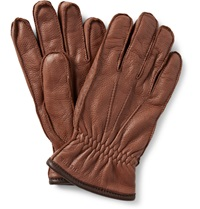 Hestra Fleece Lined Grained Leather Gloves Brown