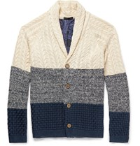Etro Slim Fit Contrast Knit Cotton Cardigan Blue