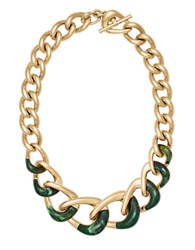 Michael Kors Luxe Two Tone Curb Chain Necklace Green