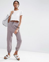 Asos Casual Peg Trousers In Pinstripe Grey
