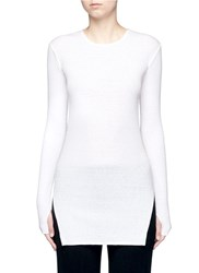 Helmut Lang Raw Edge Cotton Angora Rib Knit T Shirt White