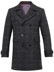 Ted Baker Watts Checked Double Breasted Overcoat Charcoal
