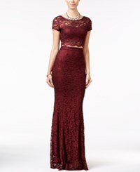 Speechless Juniors' 2 Pc. Lace Gown Burgundy