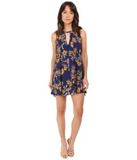 Brigitte Bailey Uzma Sunflower Print Sleeveless Dress Navy Yellow Women's Dress