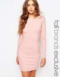True Decadence Tall Eyelet Lace Up Long Sleeve Bodycon Dress Pink
