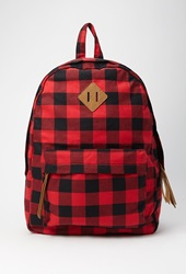 Forever 21 Classic Plaid Backpack Red Black