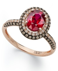 Effy Collection Red Velvet By Effy Ruby 1 1 2 Ct. T.W. Brown 1 3 Ct. T.W. And White Diamond 1 5 Ct. T.W. Oval Ring In 14K Rose Gold