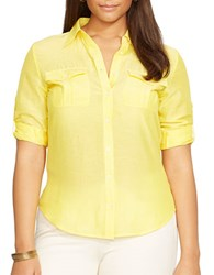 Lauren Ralph Lauren Plus Cotton Silk Long Sleeve Shirt Vivid Yellow