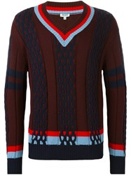 Kenzo Striped Trim V Neck Jumper Red