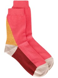 Paul Smith Colour Block Socks Pink And Purple