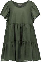 Balmain Pierre Ruffled Cotton Mini Dress Army Green