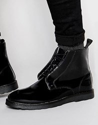 Asos Boots In Black Leather With Wedge Sole Black