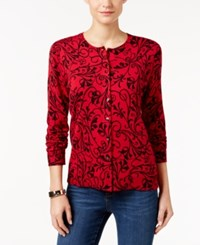 Karen Scott Printed Cardigan Only At Macy's New Red Amore Combo